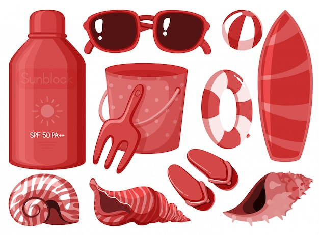 Isolated summer items in red color