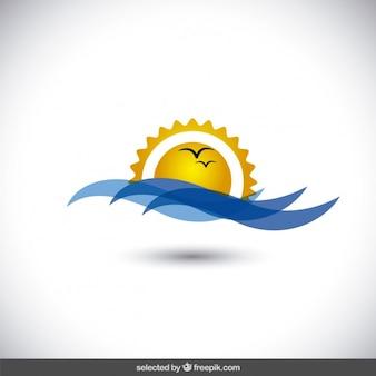 Изолированные солнце и море