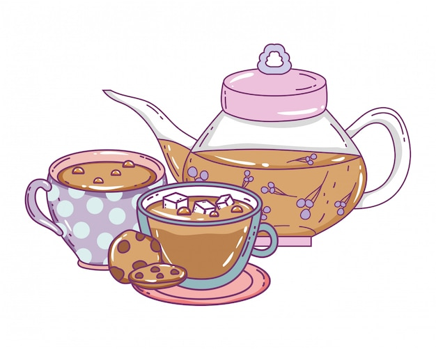 Isolated tea pot and cups