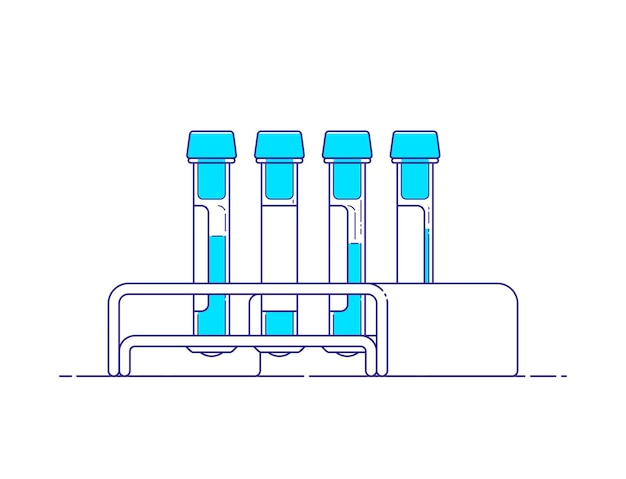 Isolated template of medical test tube with blood samples and rack in line art style with outline.