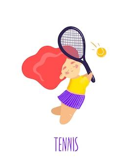 Изолированные теннисная девочка в плоском мультяшном стиле с коралловыми волосами Premium векторы