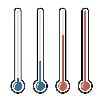 다른 색상으로 고립 된 온도계