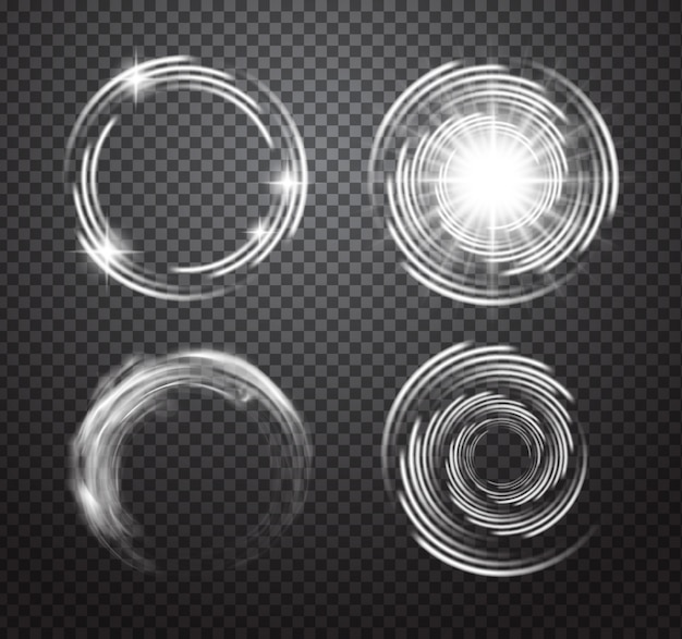 Изолированные прозрачные световые эффекты