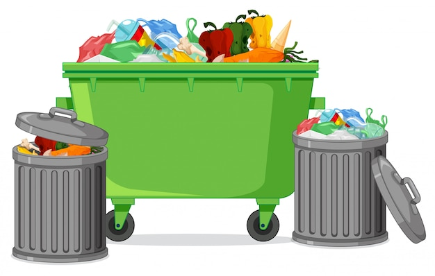 Contenitore di rifiuti isolato su priorità bassa bianca