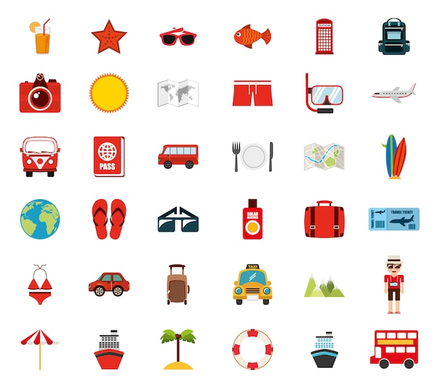 Isolated travel icon set