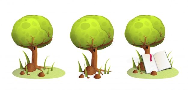孤立したツリーと自然の中で開いた本を読んでください。