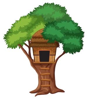 Isolated tree house on white background