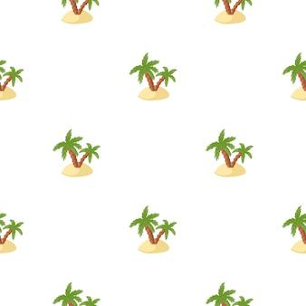 緑のヤシと島の飾りとの孤立した熱帯のシームレスなパターン。白色の背景。エキゾチックなスタイル。