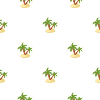 Isolated tropical seamless pattern with green palms and island ornament. white background. exotic style.