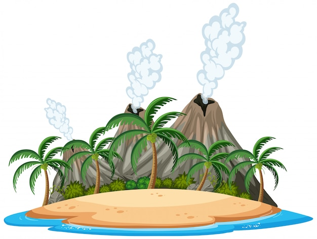 Isolated tropical volcano island