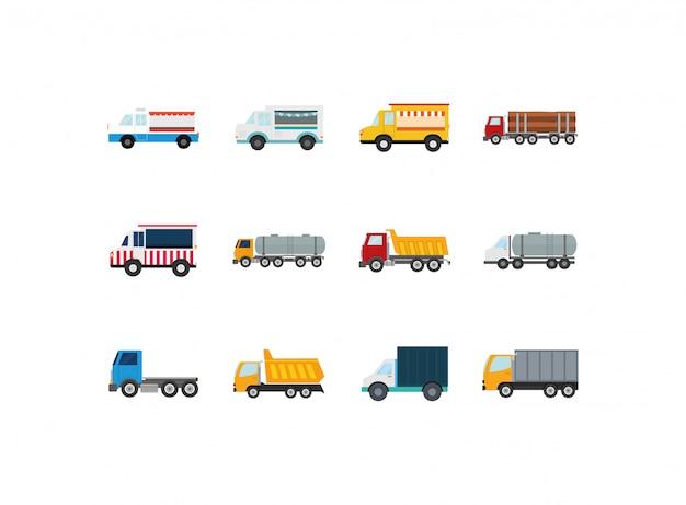 Isolated trucks icon set