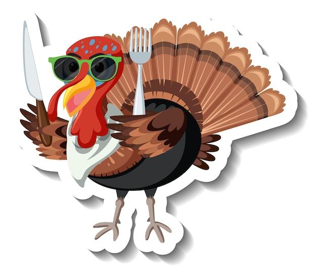 Isolated turkey sticker on white background