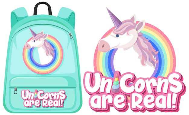 Isolated unicorn backpack on white background