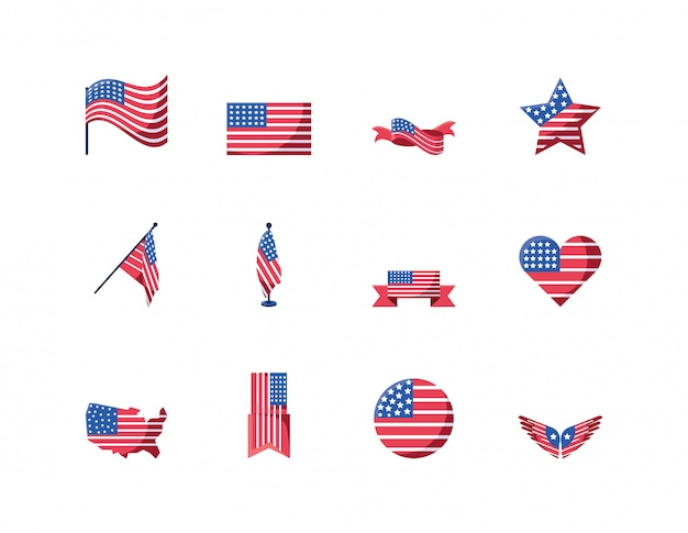 Isolated usa icon set