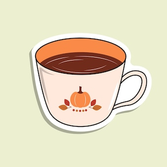 Isolated vector cup with beverage on the light green background. a cup with pumpkin and leaves and red dots. cartoon sticker
