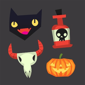 Isolated vector halloween occult images stickers