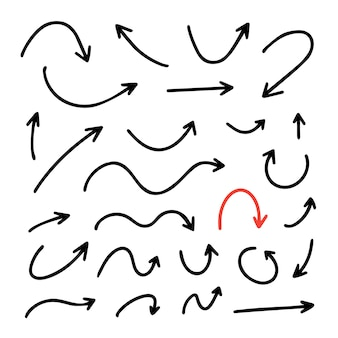 흰색 배경에 고립 된 벡터 손으로 그린 화살표 설정