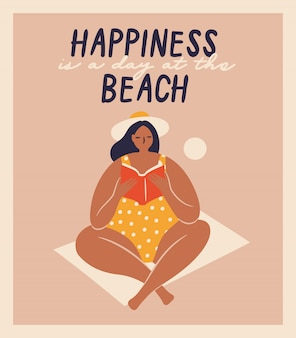 Isolated vector hand-drawn women on the beach. funny illustrations for design.