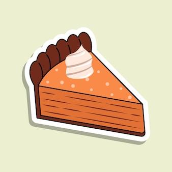 밝은 녹색 배경에 케이크의 고립 된 벡터 조각. 만화 스타일의 호박 케이크 스티커입니다. 크림색 장식의 오렌지 베이커리