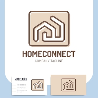 Isolated vector two line style home building connect logo
