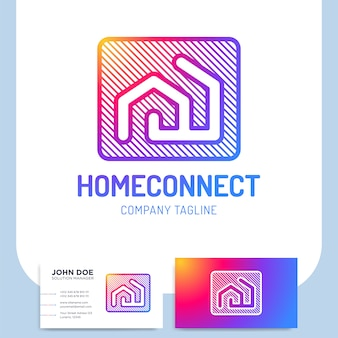 Isolated vector two line style home connect logo or building