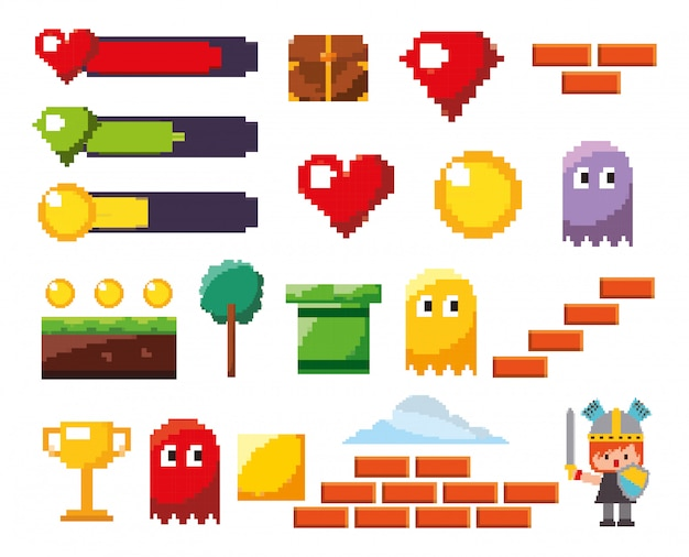 Isolated videogame icon set