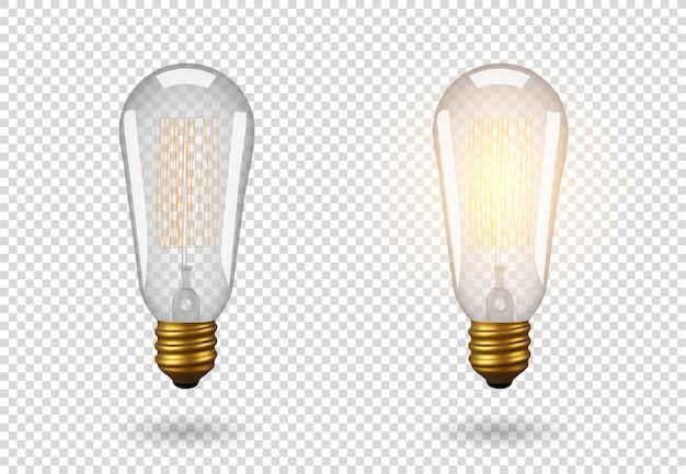 Изолированная винтажная электрическая лампочка, лампа эдисона, объект на прозрачной предпосылке, влияние света и свечение. реалистичные 3d-объект, символ творчества и идей. концепция для бизнеса или запуска.