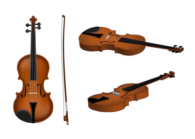 Изолированные скрипка с смычком