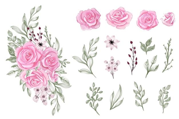 Набор изолированных акварель розовые розовые листья