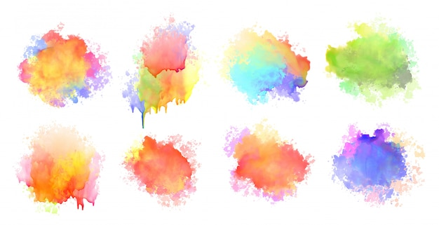 Isolated watercolor splatter stain colorful set of eight