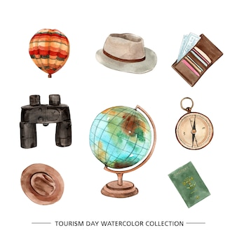 Isolated watercolor tourism collection illustration