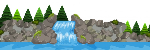 Isolated waterfall landscape scene
