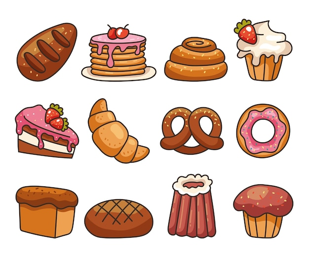 Isolated on white background set of bakery food flat line modern style