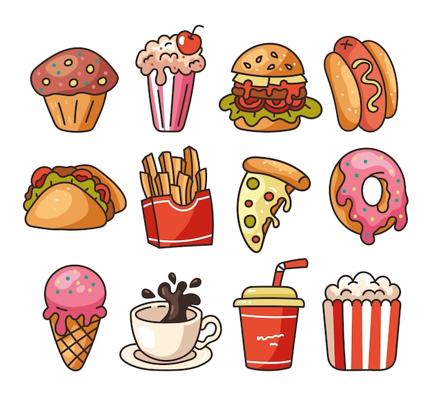 Isolated on white background set of junk fast food