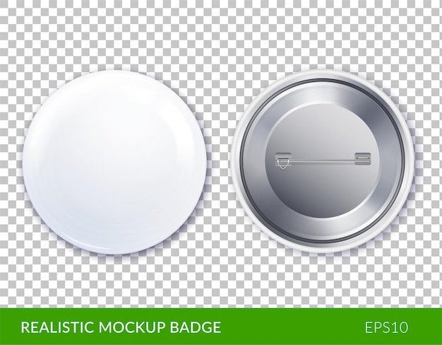Isolated white plastic and realistic mockup badge icon set
