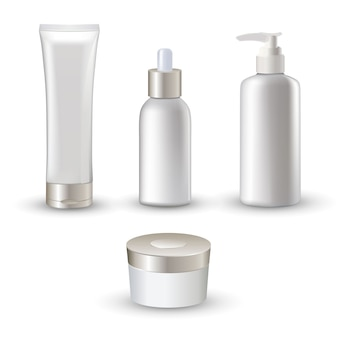 크림과 유제 피부 관리에 대 한 격리 된 흰색 현실적인 화장품 튜브 아이콘 설정