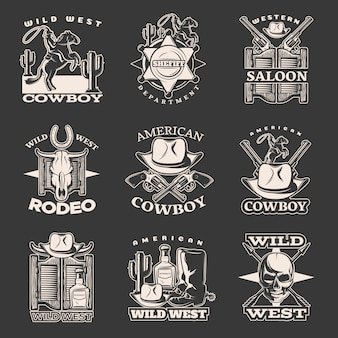 Isolated white wild west emblem set on dark with sheriff department western saloon american cowboy descriptions