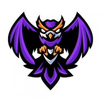 Изолированные диких животных величественная мудрая птица сова летать и готовы охотиться на добычу шаблон логотипа талисмана киберспорта для различных видов деятельности