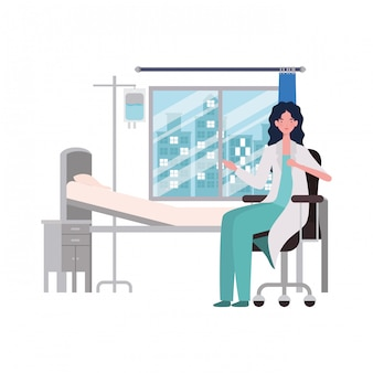 Isolated woman doctor illustration