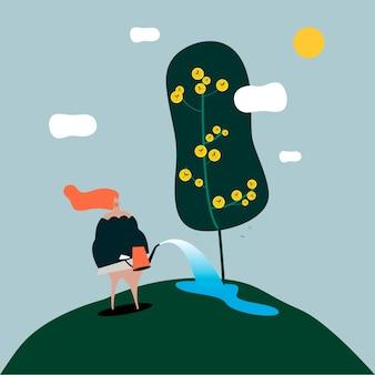 Donna isolata che innaffia l'illustrazione dell'albero
