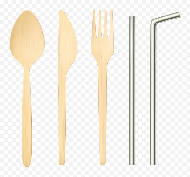 Изолированные деревянные вилка, ложка нож и стальная соломка вид сверху