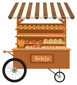 Isolated wooden bakery stall