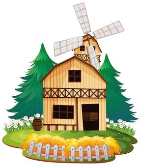 孤立した木造の納屋の家