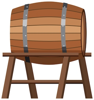 Isolated wooden barrel on stand