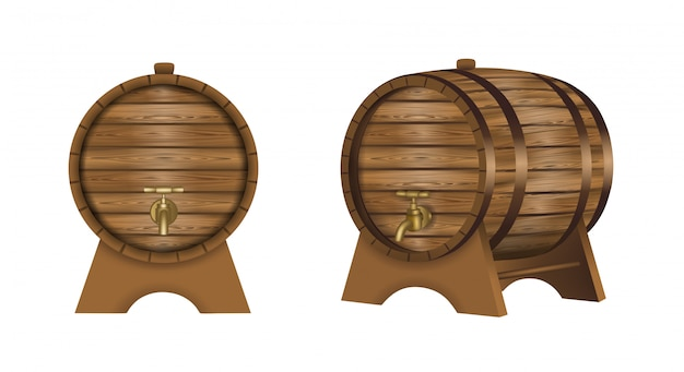 Isolated wooden wine barrels illustration