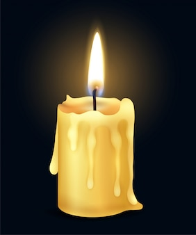 Isolated yellow realistic burning candle flame fire light composition in the dark  illustration