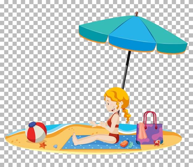 해변에 고립 된 젊은 아가씨