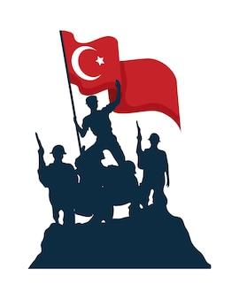 Изолированные зафер байрами военные солдаты с турецким флагом