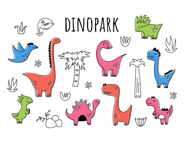 Векторный набор с динозаврами. isolatet. мультяшный стиль