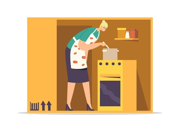 Isolation or introversion concept. female character cooking meal inside of cramped room